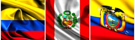 Banderas de Colombia, Perú y Ecuador