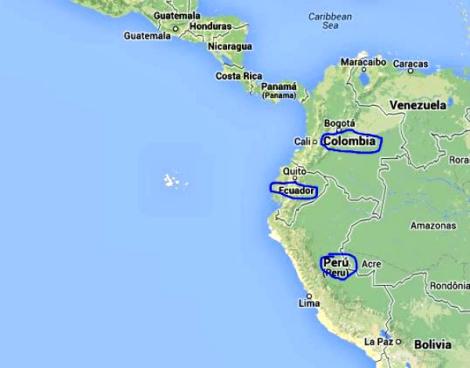 Perú, Colombia y Ecuador