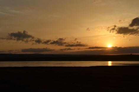 Caída del sol sobre la Laguna de Gallocanta